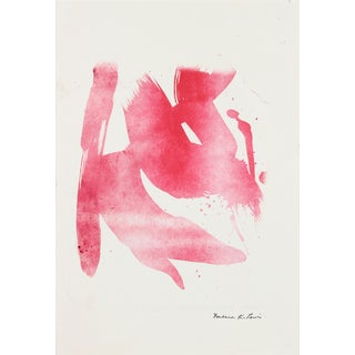 Abstracted Minimal Lithograph on Paper in Red For Sale