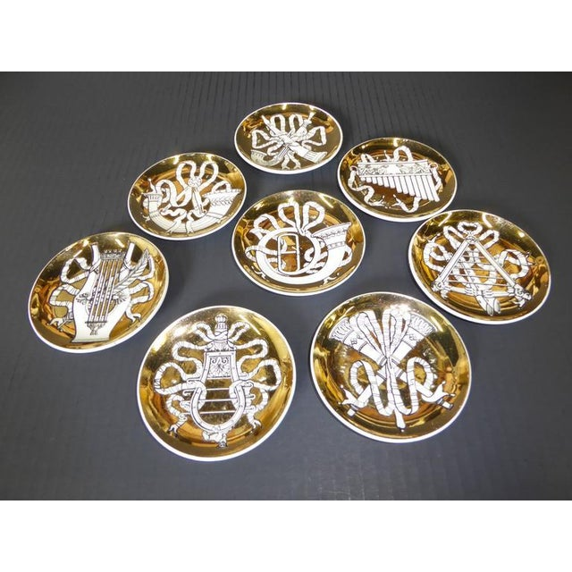 Atelier Fornasetti Set of Eight 1950s Piero Fornasetti Musicalia Canapés For Sale - Image 4 of 8