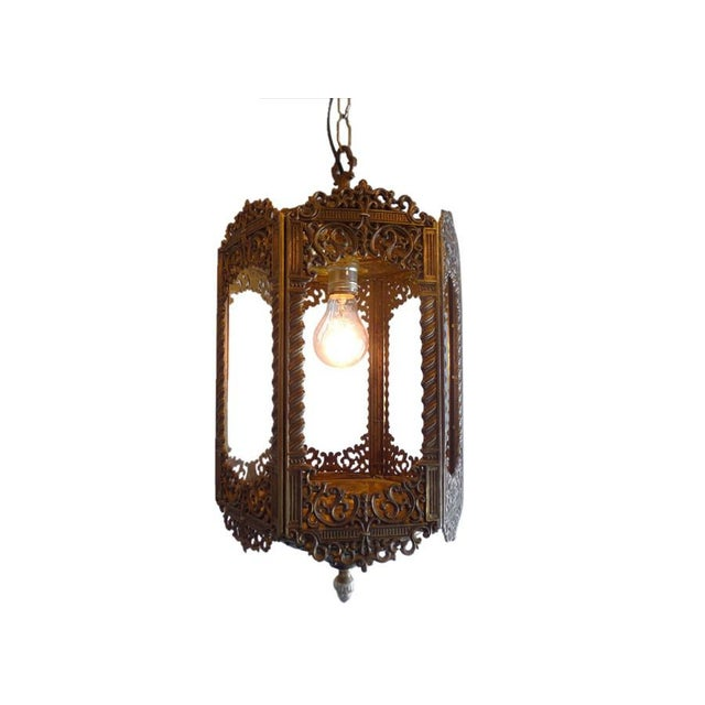 Vintage Ornate Brass Lantern For Sale