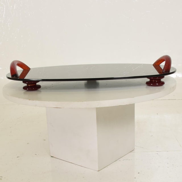 For your consideration, a Modernist Oval Serving Tray in Smoke Glass with Red Ruby Glass Handles and Sabots. Signed on one...