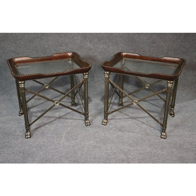 Directoire Style Glass Top End Tables - a Pair For Sale - Image 10 of 10