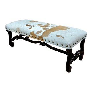 Cowhide Bench with Carved Wooden Legs For Sale
