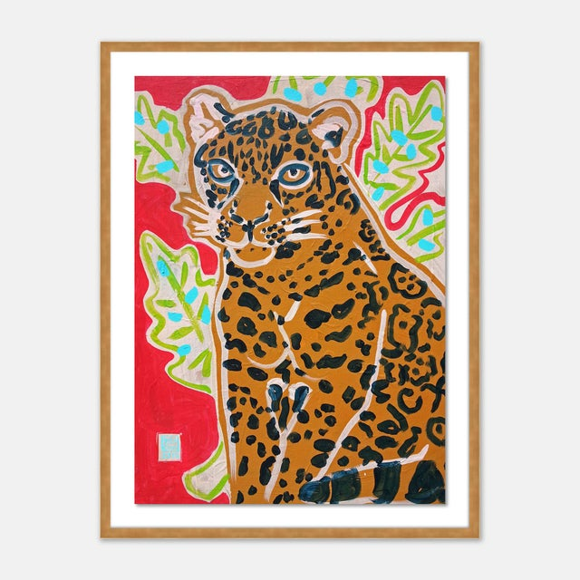 Jelly Chen Red Jaguar by Jelly Chen in Gold Framed Paper, Medium Art Print For Sale - Image 4 of 4