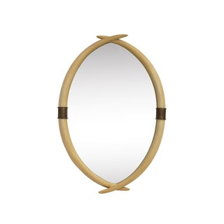 Hollywood Regency Brass and Faux Ivory Tusk Wall Mirror by Chapman For Sale