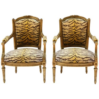 Early 19th Century Guidnon & Fils Carved Giltwood Fauteuils - a Pair For Sale