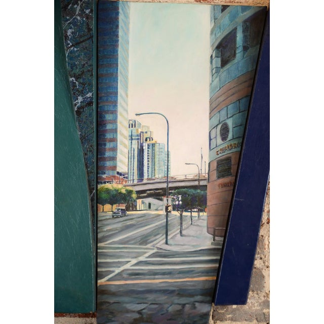 """Contemporary """"Bonaventura Hotel Downtown LA"""" Original Oil Painting by Steve Metzger For Sale - Image 3 of 9"""