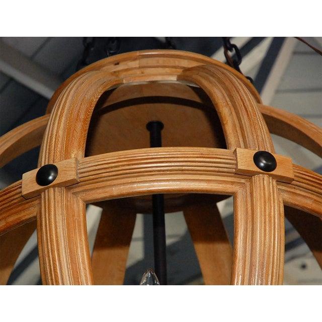 2010s Paul Marra Carved Oak Sphere Chandelier For Sale - Image 5 of 8