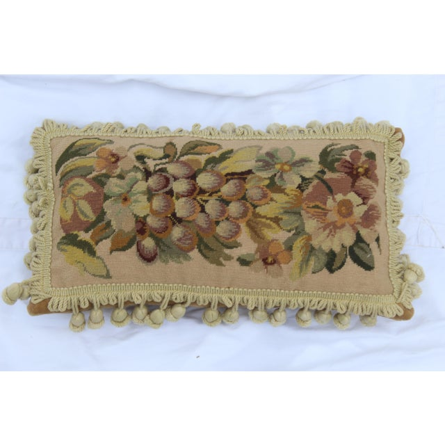 19th Century Needle Point Down Lumbar Pillow For Sale - Image 4 of 9