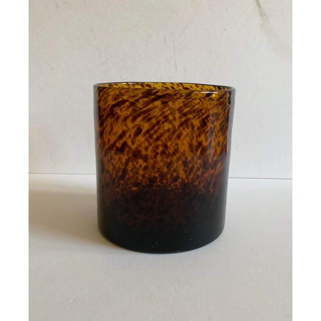 Contemporary Bloomingville Tortoise Shell Glass Vase/Ice Bucket For Sale - Image 3 of 7