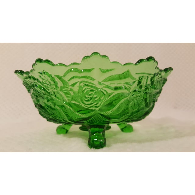 Emerald Rose Motif Tri Footed Bowl For Sale - Image 5 of 5