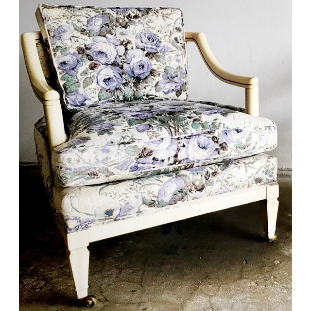 Green Baker Vintage Violet Floral Club Lounge Chair - Pair For Sale - Image 8 of 8