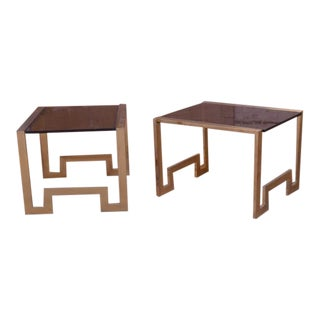 1960s Asian Inspired Brass End Tables With Smokey Glass - a Pair For Sale