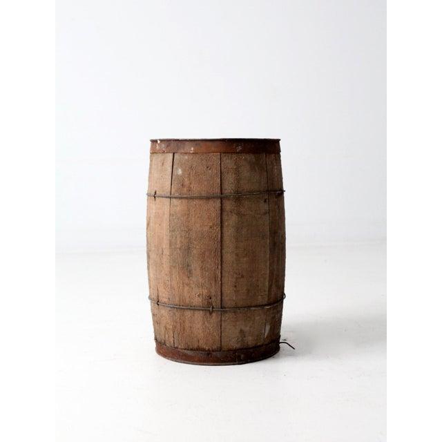 Antique Primitive Wooden Barrel For Sale - Image 4 of 9