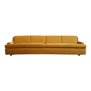 Mid-Century Modern Brass Colored Reupholstered Sofa For Sale