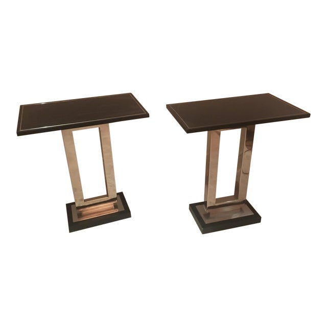 Art Deco Crate and Barrel End Tables - a Pair For Sale