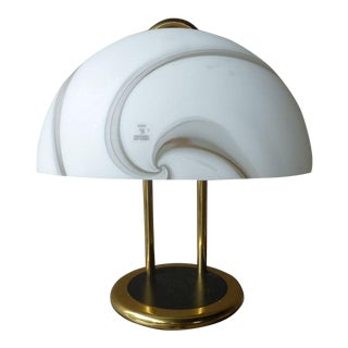 1970s Vintage Vetri Murano Glass & Brass Desk Lamp For Sale