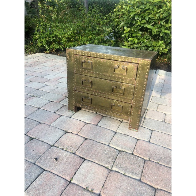 Sarreid Brass Clad Three Drawer Chest of Drawers For Sale - Image 9 of 13
