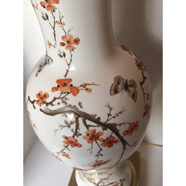 Butterflies & Cherry Blossom Ceramic Table Lamp For Sale - Image 5 of 8