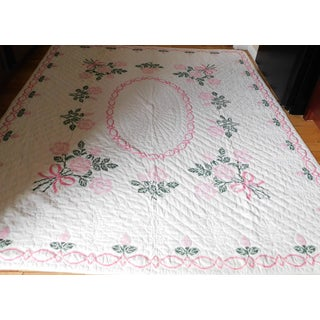 Antique Hand-Embroidered White, Pink & Green Tulip Quilt Preview