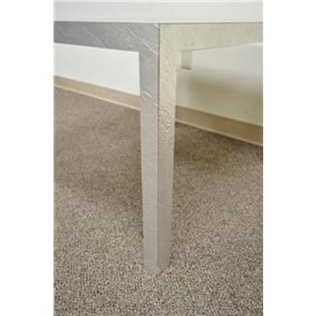 Vintage Mid Century Modern Silver Square Parsons Coffee Side Occasional Table - Image 5 of 12