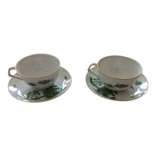 Footed Cup & Saucer Set Manchu by Narumi - a Pair For Sale