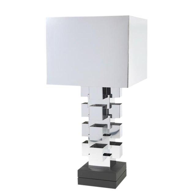 1970'S VINTAGE C. JERÉ ARTISAN HOUSE CHROME TABLE LAMP For Sale