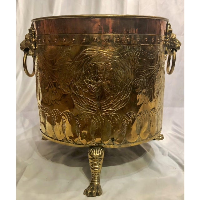 "Antique English Rare Design ""Armorial"" Brass and Copper Log Bin, Circa 1820-1840. Coat of Arms, Lion's Head and Paw Feet...."