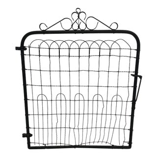 Vintage Black Rustic Wire Fence Gate With Scrollwork Accent For Sale