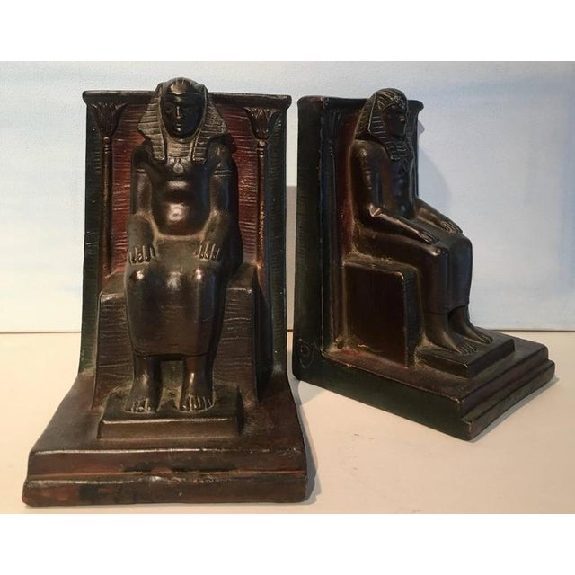 Beautiful vintage copper Pharaoh bookends, copper is formed over plaster form under. Believed to be memorabilia having to...