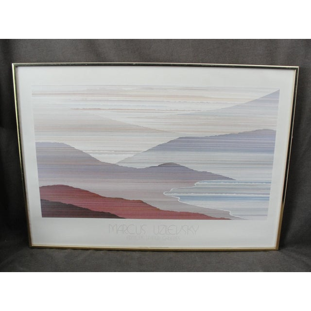 This is a very nice 1983 off set lithograph by the artist marcus Uzilevski. The print is set in a modern metal frame...