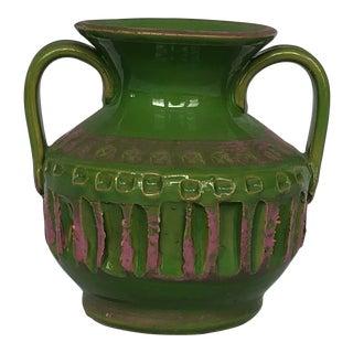 Vintage Mid Century Modern Brutalist Italian Pottery Vase For Sale