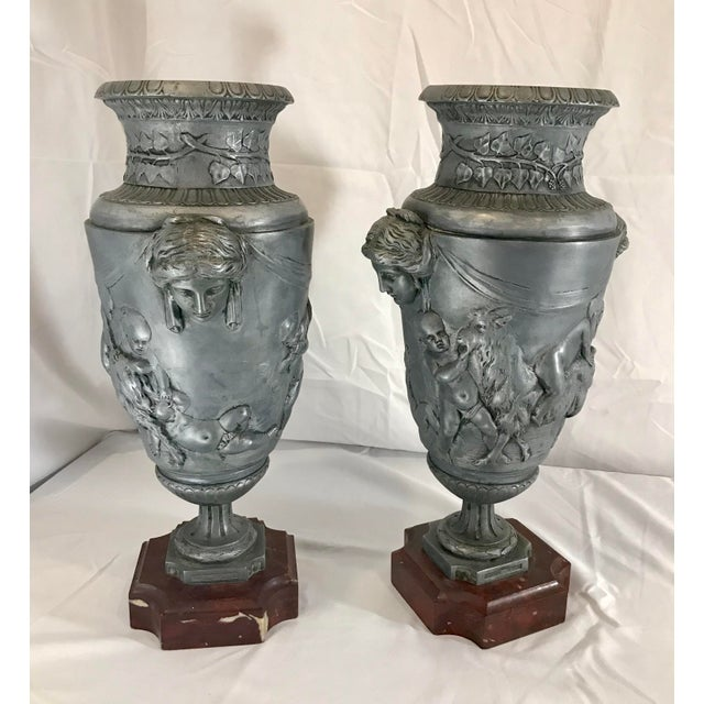 19th Century 19th Century French Neoclassical Pewter on Marble Urns - a Pair For Sale - Image 5 of 13