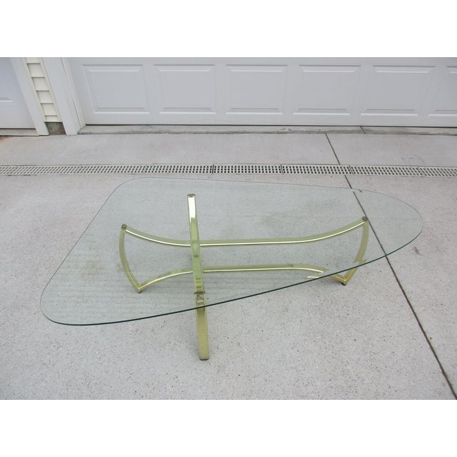 Oblong Brass and Beveled Glass Coffee Table For Sale - Image 5 of 10