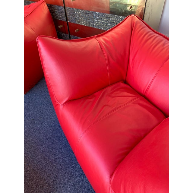 1970s Le Bambole Armchairs Red Leather by Mario Bellini for B&b Italia For Sale - Image 10 of 13