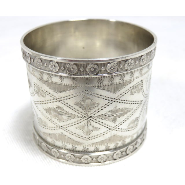 A Fine Quality Pair of Antique - Victorian Sterling Silver Wedding Napkin Rings. They are Completely Hand Made with Fancy...