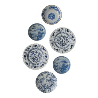 Blue & White Plate Collection- 6 Pieces For Sale
