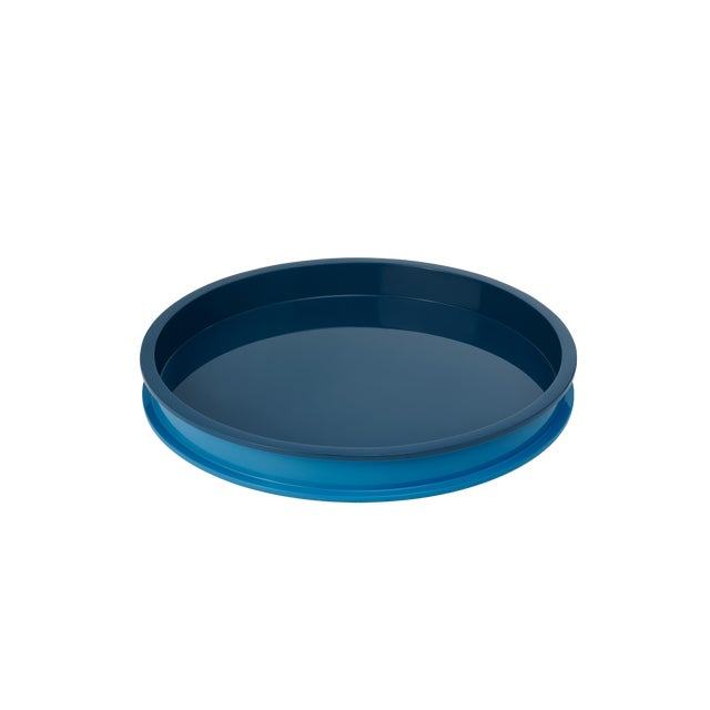Jeffrey Bilhuber Collection Large Circular Tray in Teal / Horizon Blue For Sale