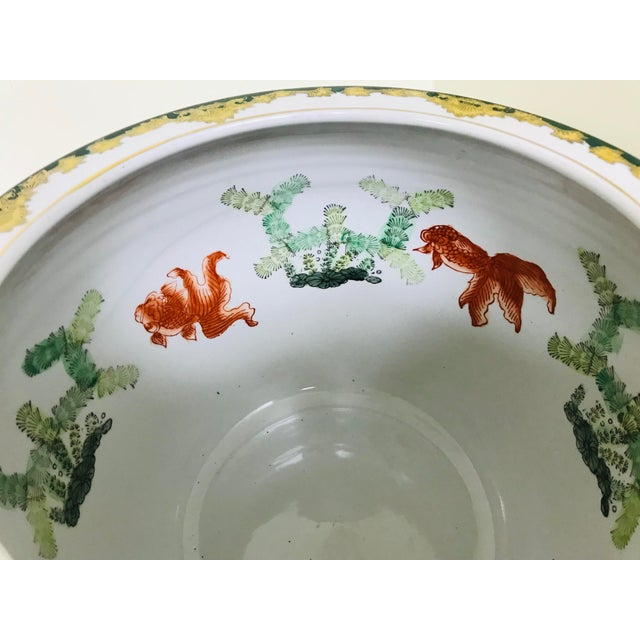 Green Vintage Andrea by Sadek Chinoiserie Fish Bowl Ceramic Floor Planter Cachepot For Sale - Image 8 of 11