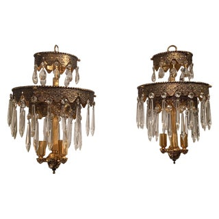 Pair of Glitzy Etched Metal and Crystal Pendant Chandeliers For Sale