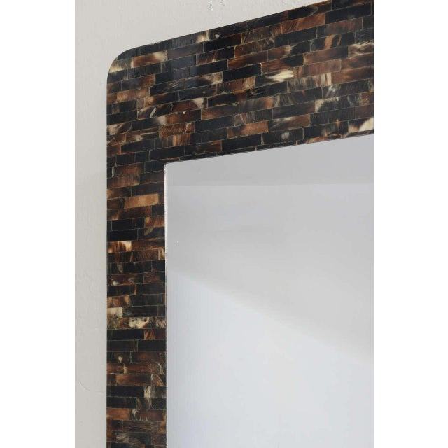 Mid-Century Modern Tessellated Horn Wall-Mounted Console Mirror For Sale - Image 3 of 10