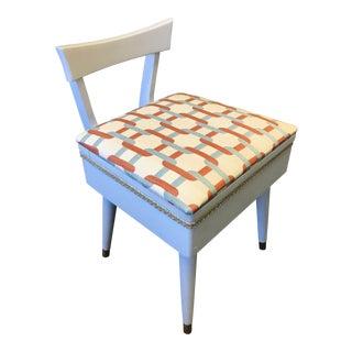Mid Century Vintage Vanity Storage Seat For Sale