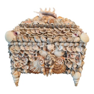 Seashell Encrusted Lidded Box For Sale