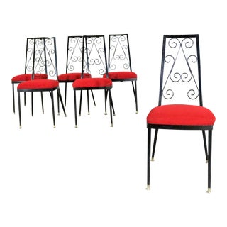 Set 6 Decorables 1967 Selection for Chromcraft Metal Dining Chairs Red and Black For Sale