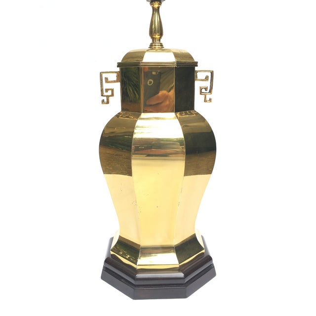 Vintage Asian / Chinese Style Brass Ginger Jar Table Lamp For Sale - Image 5 of 10