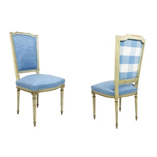 Set of 6 French Louis XVI Blue Side Chairs For Sale