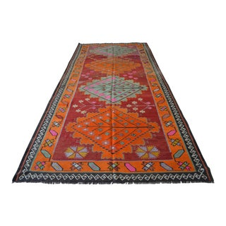 """Colorfully Turkish Kilim Rug Hand Woven Antique Large Runner - 4'11"""" X 11' For Sale"""