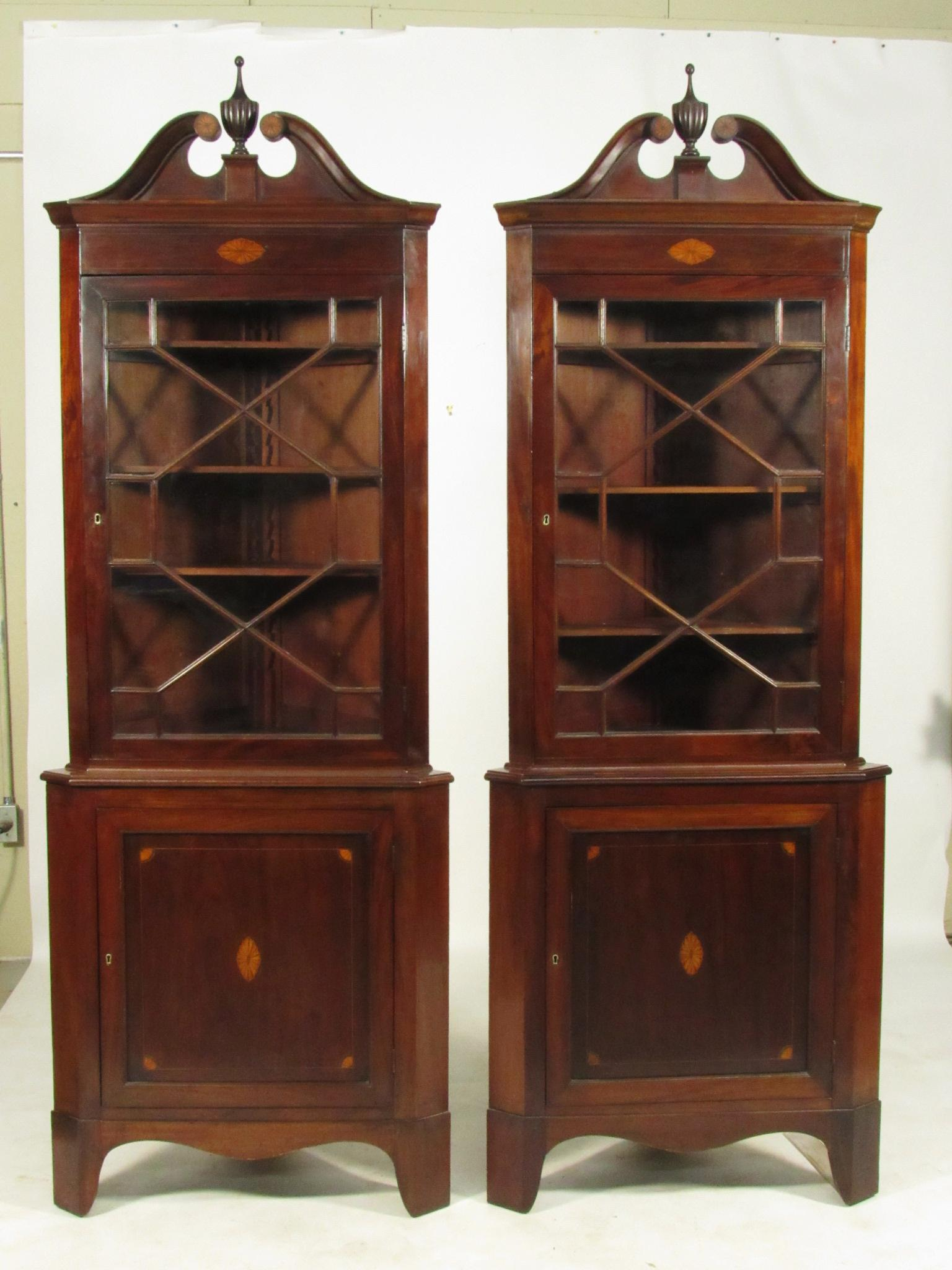 A Pair Of 19th Century Federal Style Inlaid Mahogany Corner Cabinets With  Glazed Door Upper Cabinets