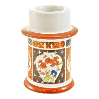 Imari-Style Chinoiserie Red & Blue Candle Holder For Sale
