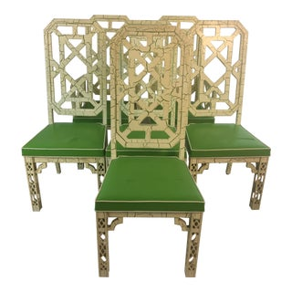 Palm Beach Style Chinoiserie Dining Chairs, Set of Six For Sale