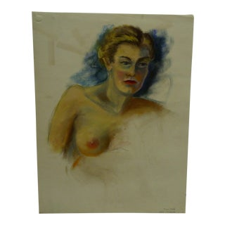 "Tom Sturges Jr. 1950 ""20 Min Sketch - Bare Breast"" Original Drawing"